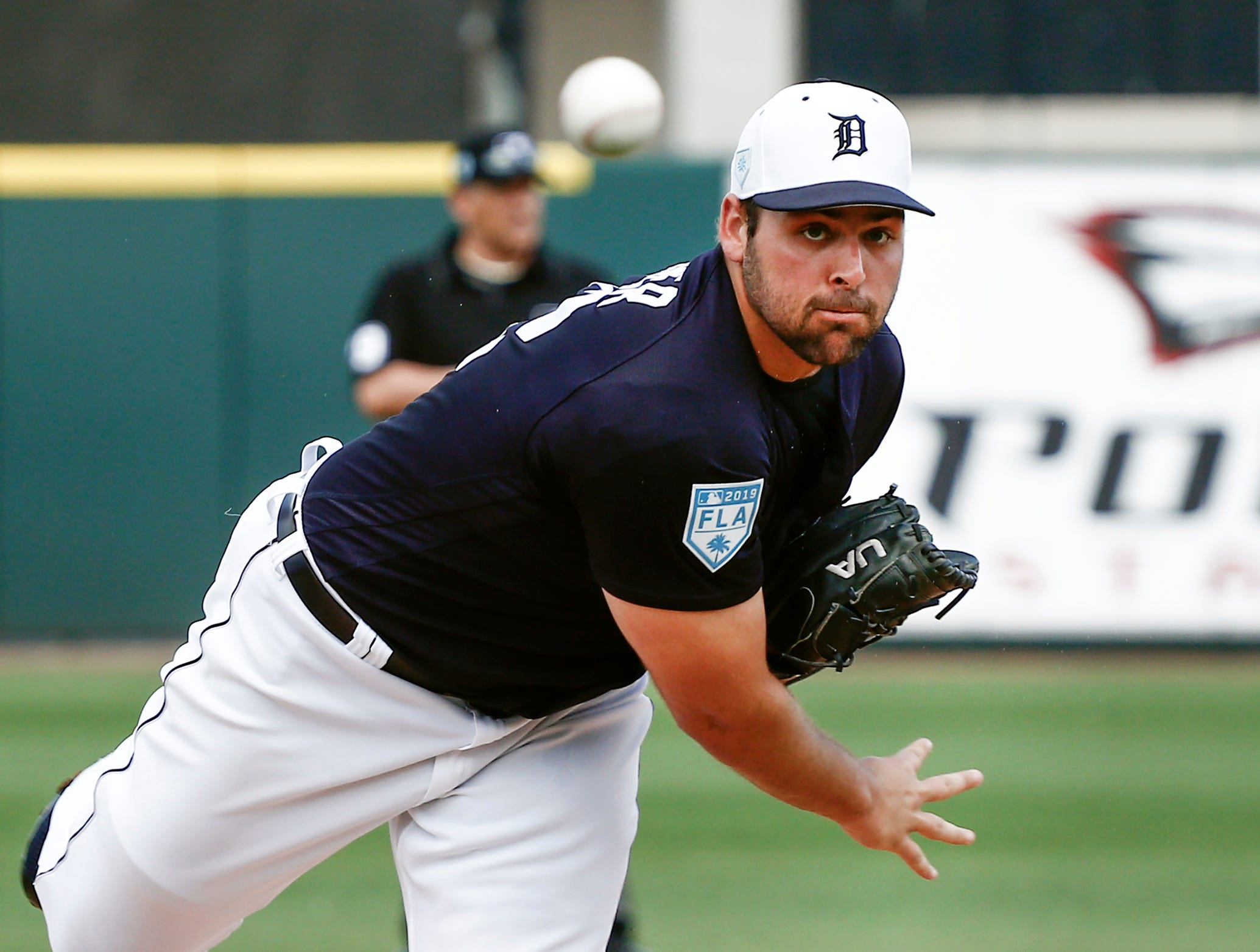 Detroit Tigers pitcher Michael Fulmer warms up before the first inning against the New York Yankees in Lakeland, Fla., Feb. 27, 2019.