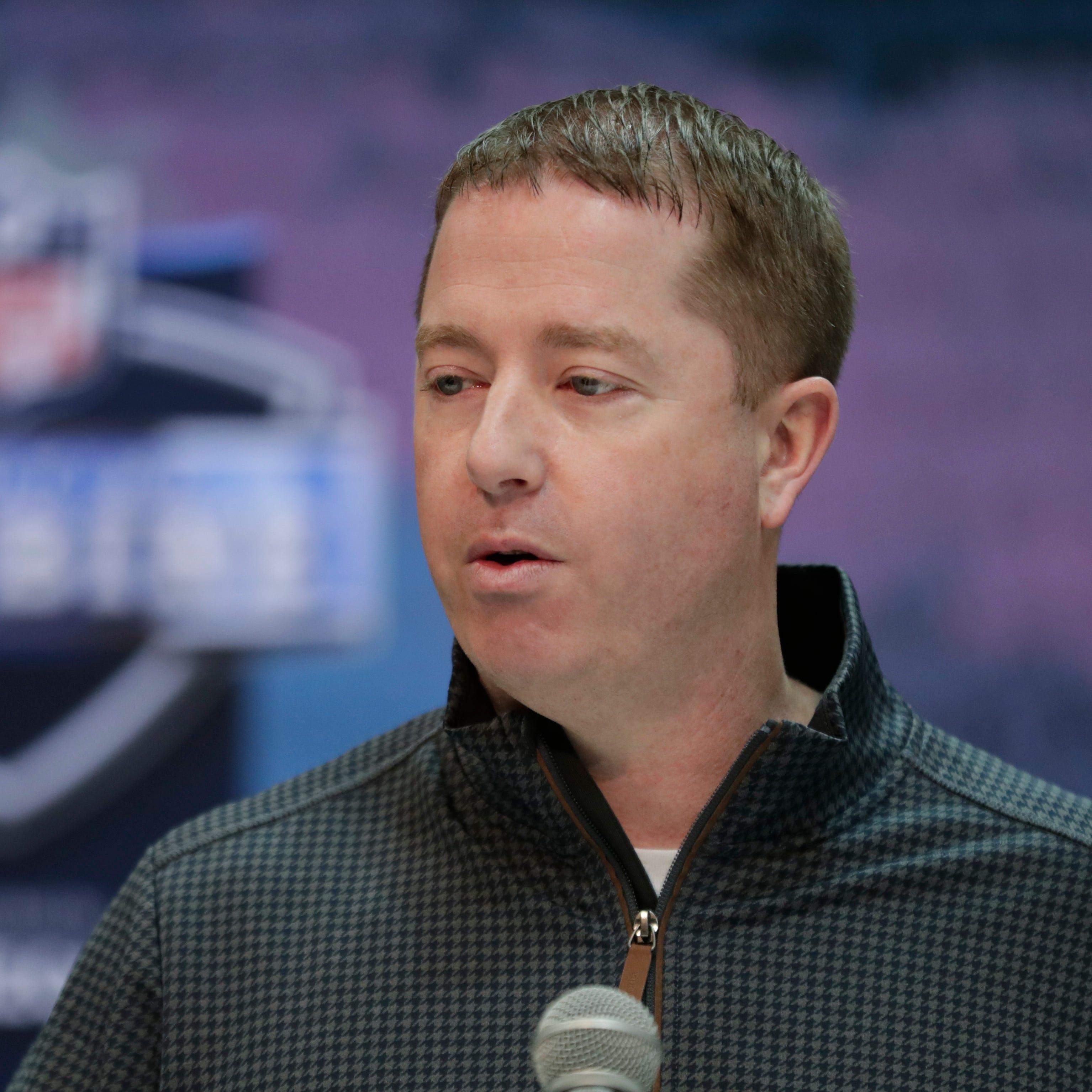 Detroit Lions general manager Bob Quinn speaks...