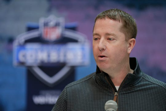 Detroit Lions general manager Bob Quinn speaks during a press conference at the NFL football scouting combine in Indianapolis, Wednesday, Feb. 27, 2019.