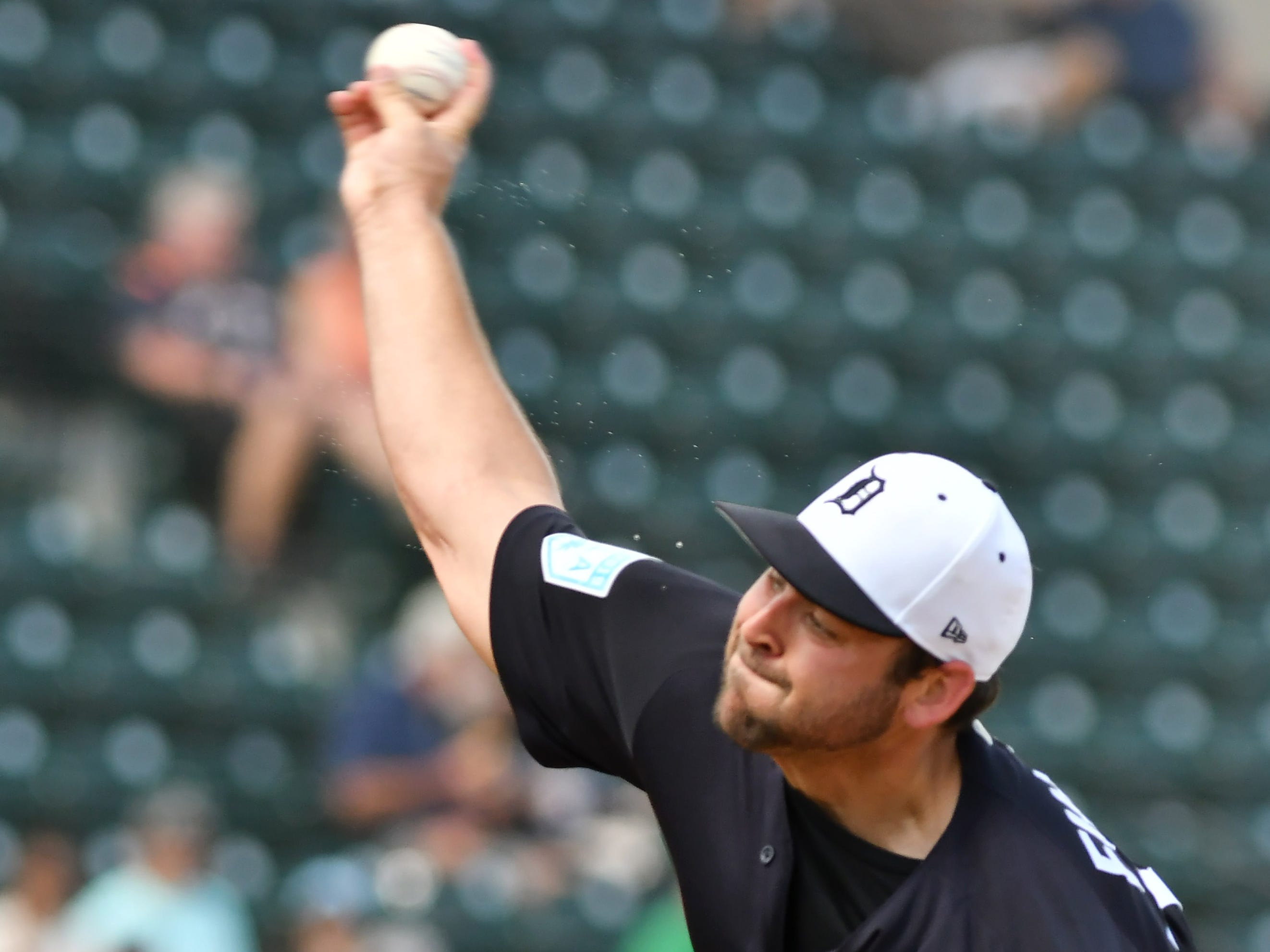 Tigers pitcher Michael Fulmer works in the first inning. Detroit Tigers outscored the  New York Yankees 10-6 in a weather-shortened game at Publix Field at Joker Marchant Stadium in Lakeland, Fla. on Feb. 27, 2019.