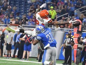 Lions general manager Bob Quinn says Teez Tabor (31) will remain at cornerback.
