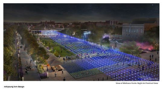 A park called Midtown Yards stretches behind the DIA in the proposal by Mikyoung Kim Design and partners.