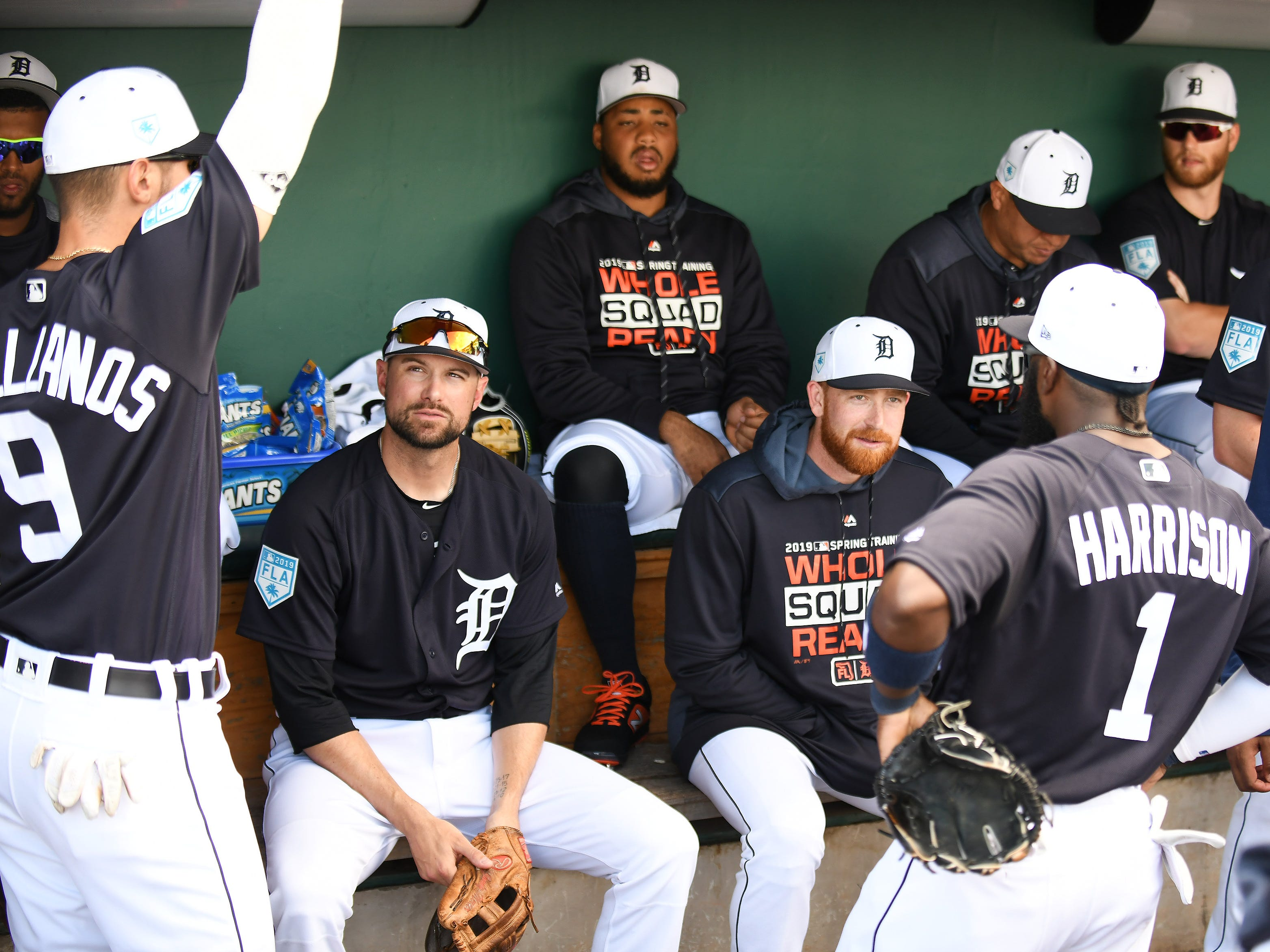 Tigers' Josh Harrison (1) in the dugout with teammates including, from left, Nick Castellanos (9), Jordy Mercer, Dawel Lugo and Spencer Turnbull, before the game.
