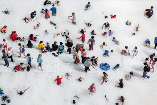 The Beach, at 1001 Woodward in Detroit, is a free pop-up attraction by New York's Snarkitecture that opens Friday.