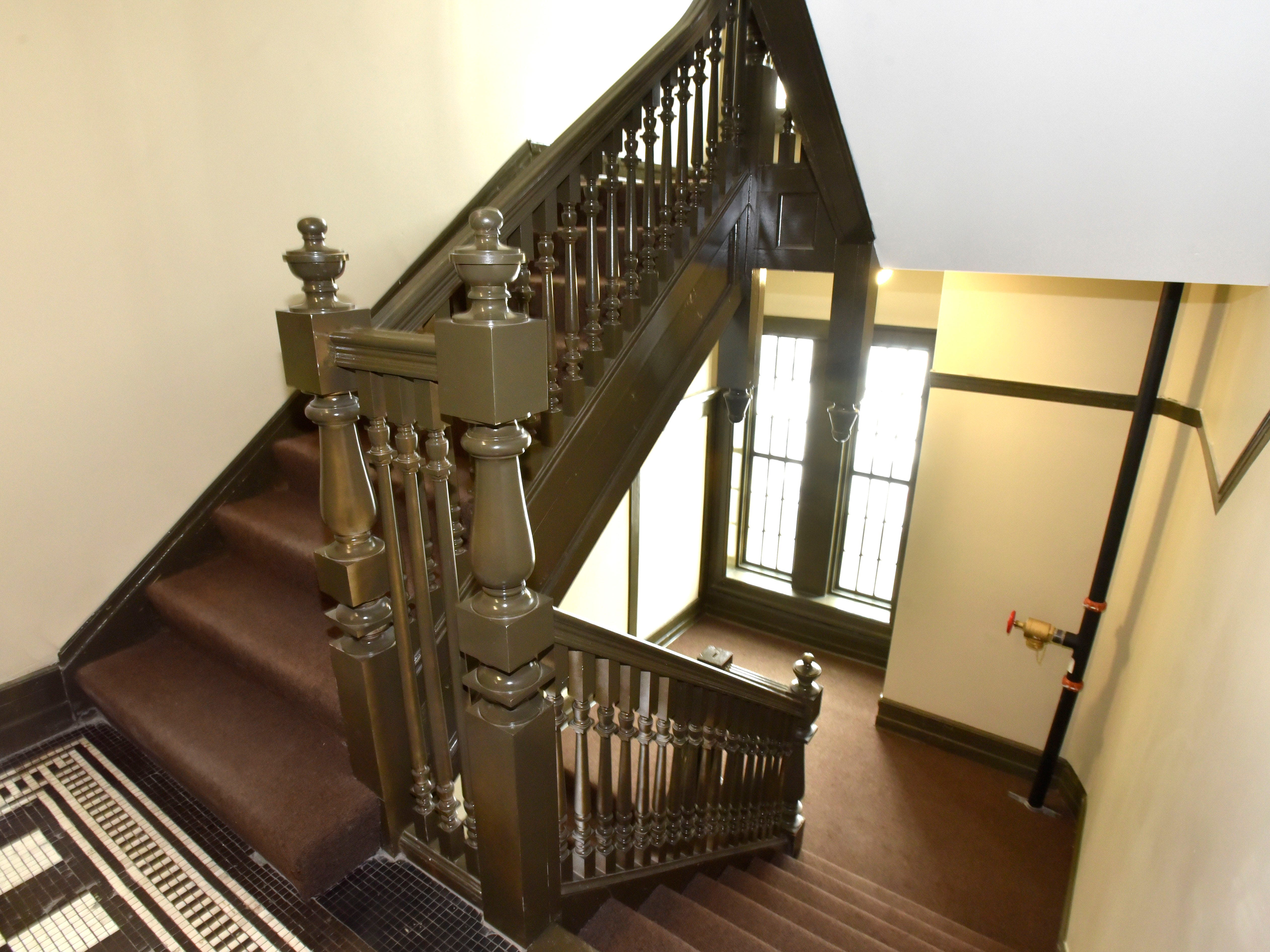 This is the finished staircase on the north side of the building.