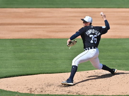 Tigers pitching prospect Kyle Funkhouser tossed two scoreless innings in the team's spring training opener against Southeastern College.