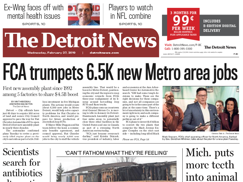 The front page of The Detroit News on Wednesday, February 27, 2019.