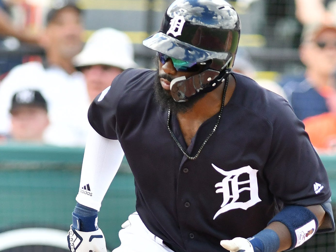 Tigers' Josh Harrison draws a walk in his first at bat of the spring in the first inning.