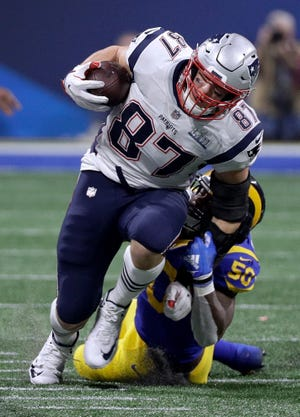 New England Patriots tight end Rob Gronkowski has four seasons of at least 1,000 yards receiving.