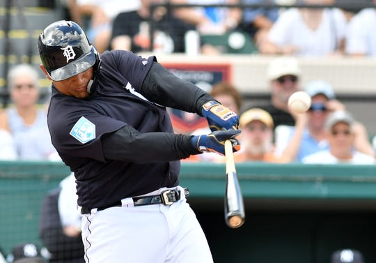 Miguel Cabrera smacks an RBI double in the first inning.