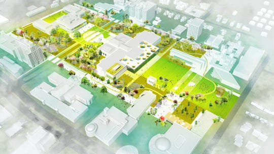 An overview of the Detroit Square proposal from Agence Ter and partners, showing the greening of the entire district.