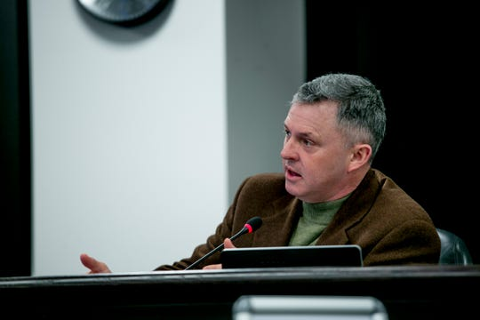 Commissioner Leon Drolet speaks at a meeting of the Macomb County Board of Commissioners in Mt. Clemens on February 27, 2019.