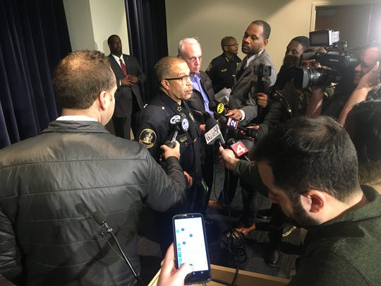 Detroit Police Chief James Craig addresses questions from the media during a press conference Wednesday, Feb. 27 announcing the firing of an officer.