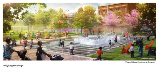 The Mikyoung Kim Design plan envisions a kid-friendly fountain maze behind the Scarab Club.