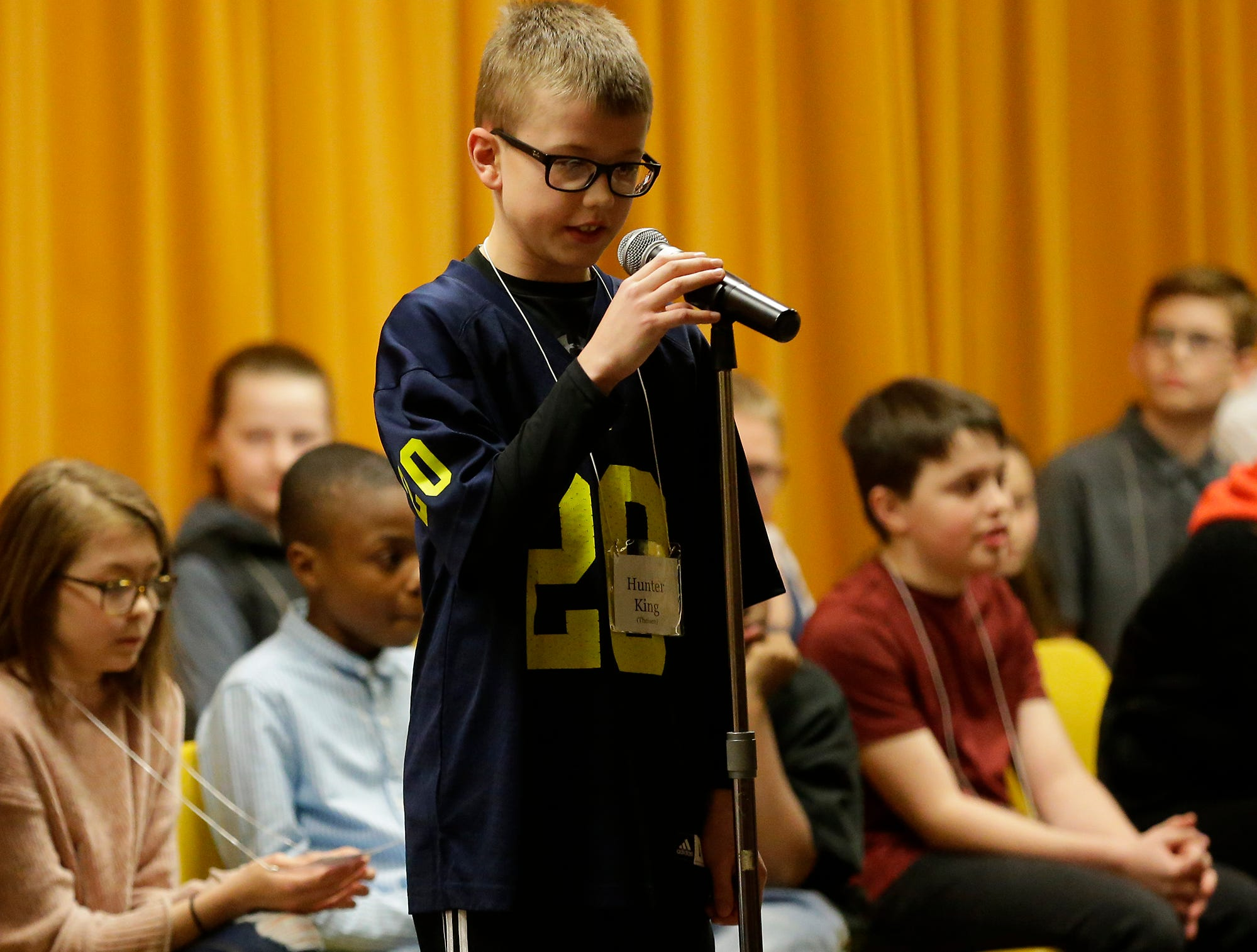 Hunter King of Theisen Middle School competes in the Fond du Lac citywide spelling bee Tuesday, February 26, 2019 at These Middle School in Fond du Lac, Wis. Doug Raflik/USA TODAY NETWORK-Wisconsin