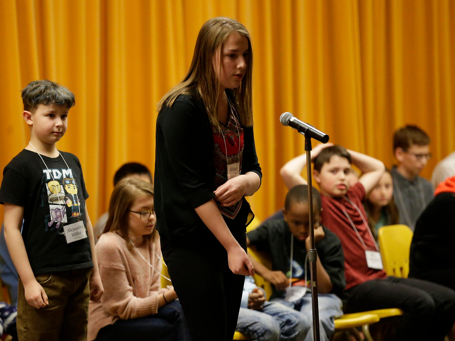 Addison Konen of Theisen Middle School competes in the Fond du Lac citywide spelling bee Tuesday, February 26, 2019 at These Middle School in Fond du Lac, Wis. Doug Raflik/USA TODAY NETWORK-Wisconsin