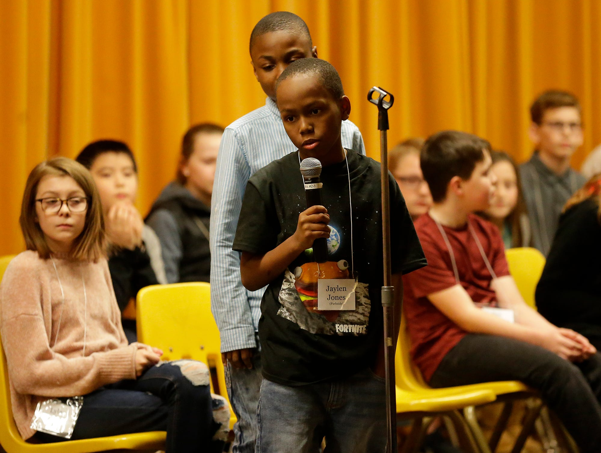 Jaylen Jones of Parkside competes in the Fond du Lac citywide spelling bee Tuesday, February 26, 2019 at These Middle School in Fond du Lac, Wis. Doug Raflik/USA TODAY NETWORK-Wisconsin