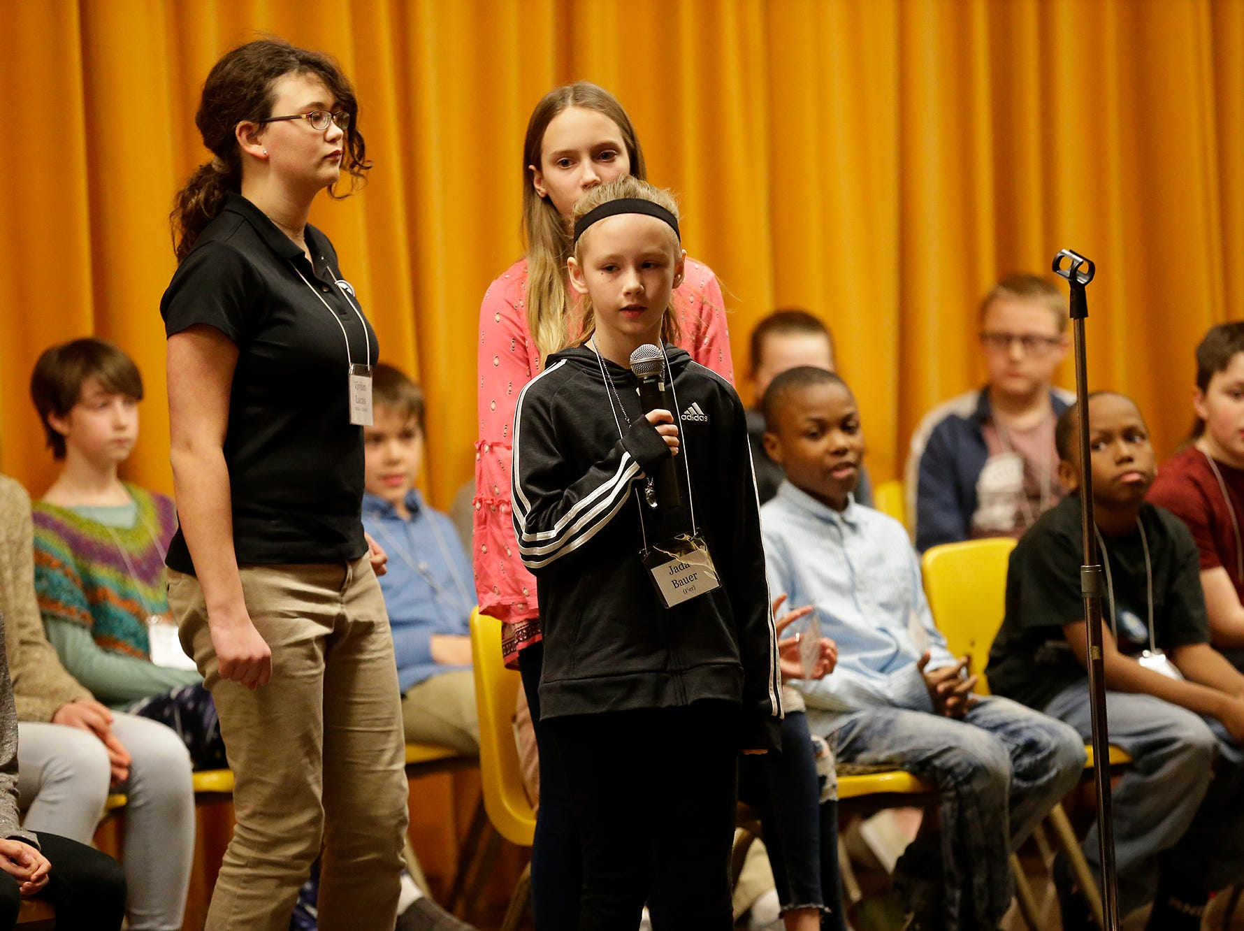 Jada Bauer of Pier competes in the Fond du Lac citywide spelling bee Tuesday, February 26, 2019 at These Middle School in Fond du Lac, Wis. Doug Raflik/USA TODAY NETWORK-Wisconsin