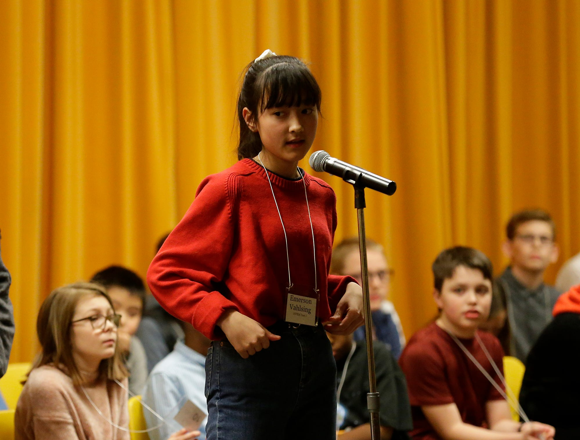 Emerson Vahlsing of STEM Institute competes in the Fond du Lac citywide spelling bee Tuesday, February 26, 2019 at These Middle School in Fond du Lac, Wis. Doug Raflik/USA TODAY NETWORK-Wisconsin