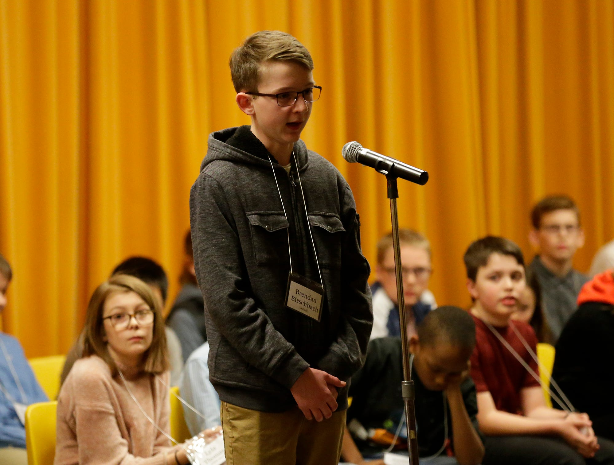 Brendan Birschbach of Sabish competes in the Fond du Lac citywide spelling bee Tuesday, February 26, 2019 at These Middle School in Fond du Lac, Wis. Doug Raflik/USA TODAY NETWORK-Wisconsin