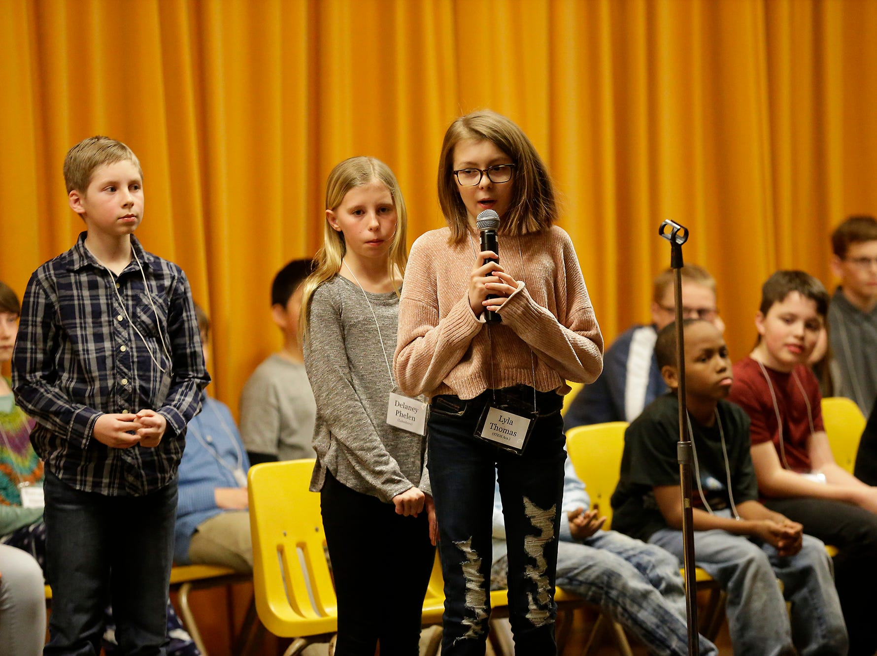 Lyla Thomas of STEM Academy competes in the Fond du Lac citywide spelling bee Tuesday, February 26, 2019 at These Middle School in Fond du Lac, Wis. Doug Raflik/USA TODAY NETWORK-Wisconsin