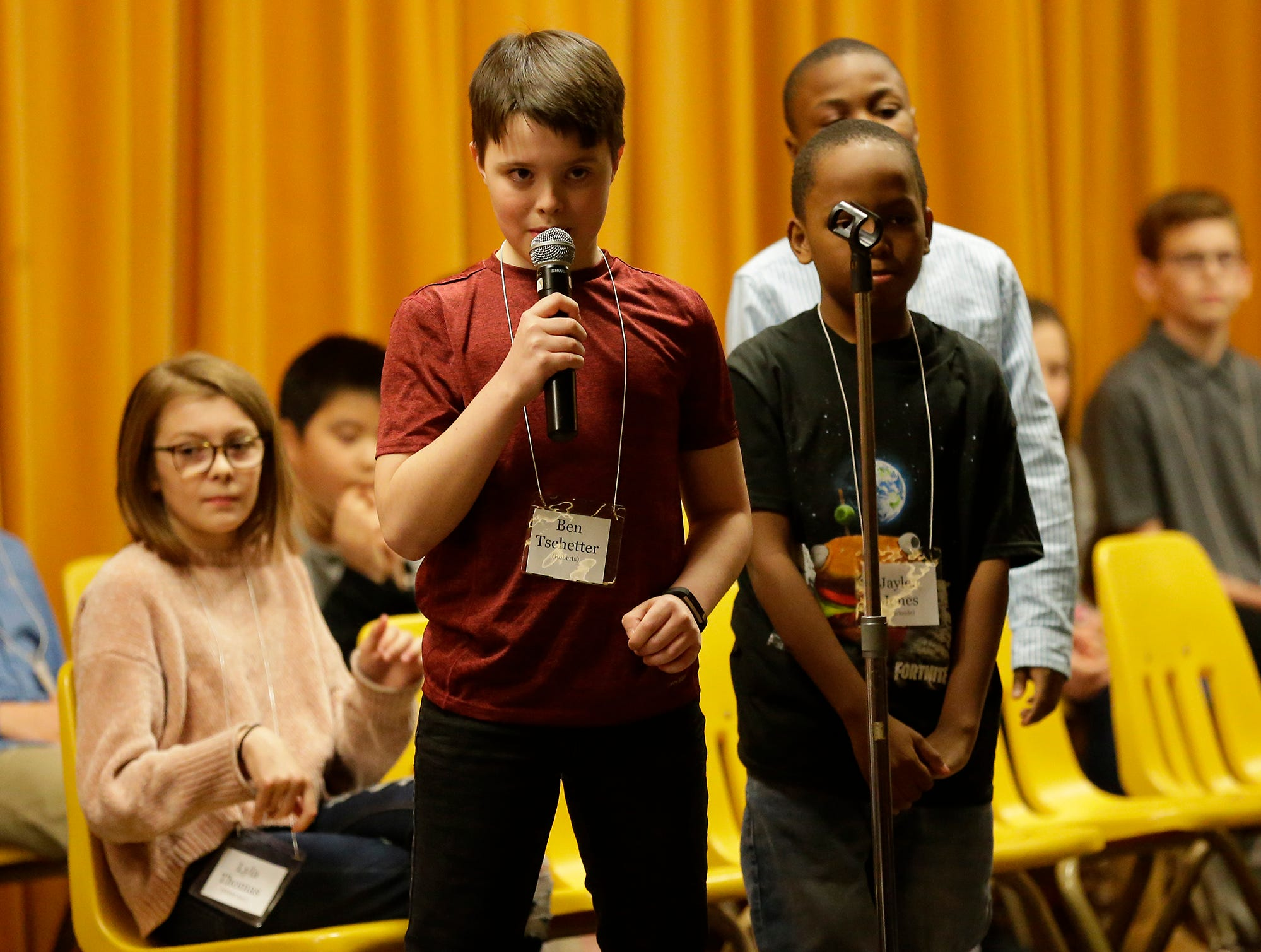 Ben Tschetter of Roberts competes in the Fond du Lac citywide spelling bee Tuesday, February 26, 2019 at These Middle School in Fond du Lac, Wis. Tschetter ended up second in the event. Doug Raflik/USA TODAY NETWORK-Wisconsin