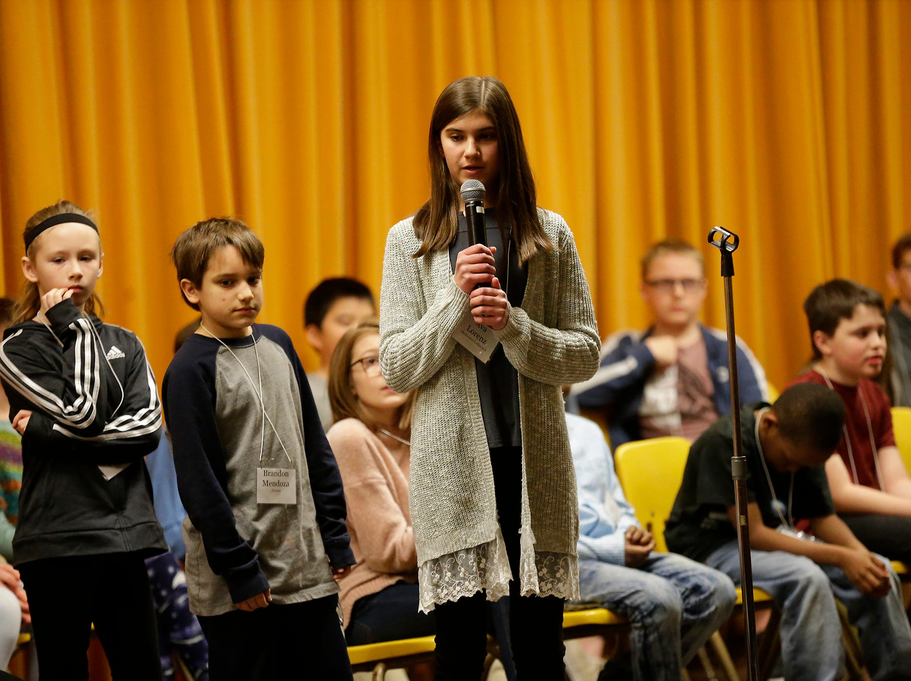 Ava Lorenz of Redeemer Lutheran competes in the Fond du Lac citywide spelling bee Tuesday, February 26, 2019 at These Middle School in Fond du Lac, Wis. Doug Raflik/USA TODAY NETWORK-Wisconsin