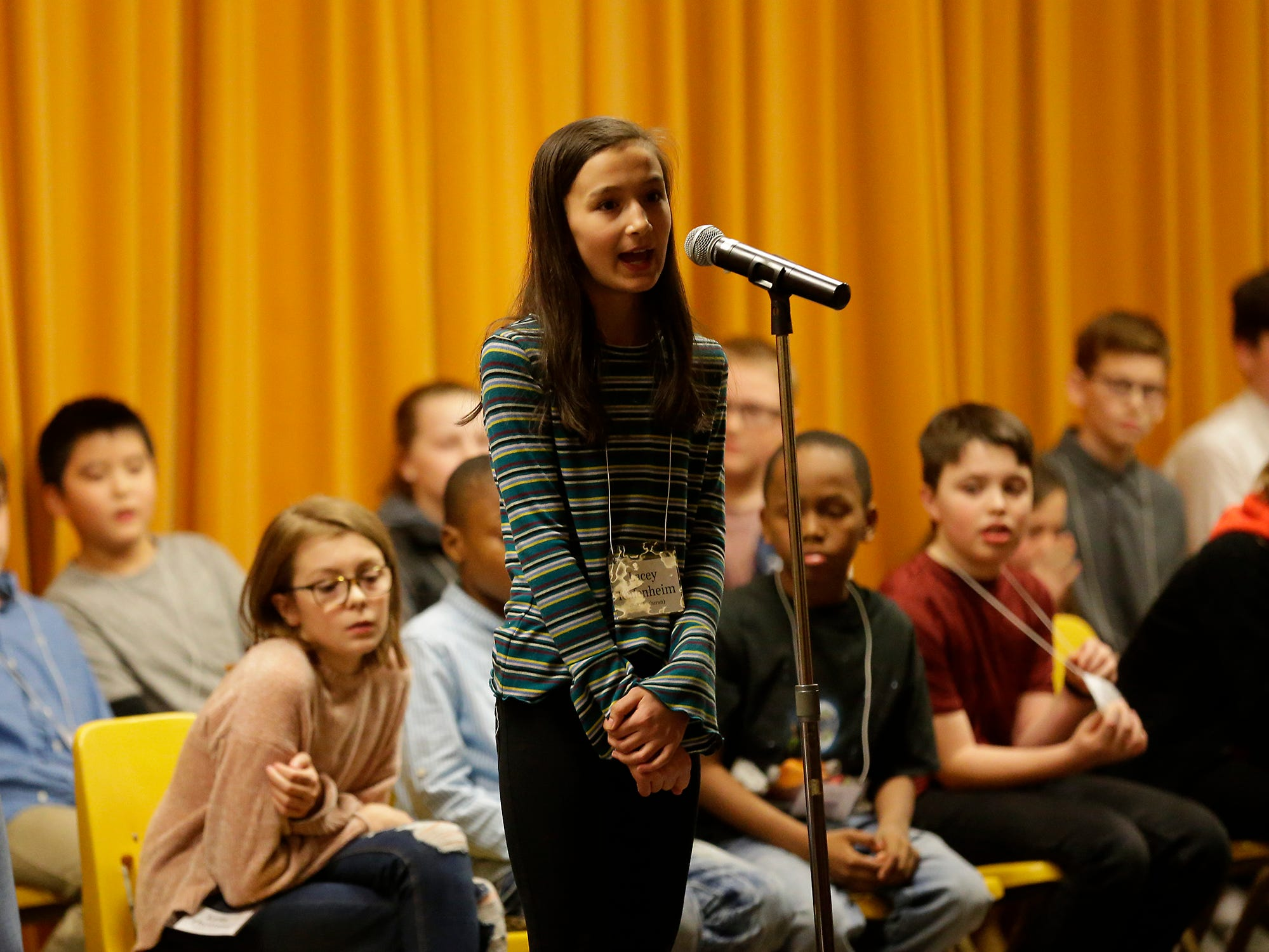 Lacy Keifenheim of Faith Lutheran competes in the Fond du Lac citywide spelling bee Tuesday, February 26, 2019 at These Middle School in Fond du Lac, Wis. Keifenheim ended up third in the competition. Doug Raflik/USA TODAY NETWORK-Wisconsin