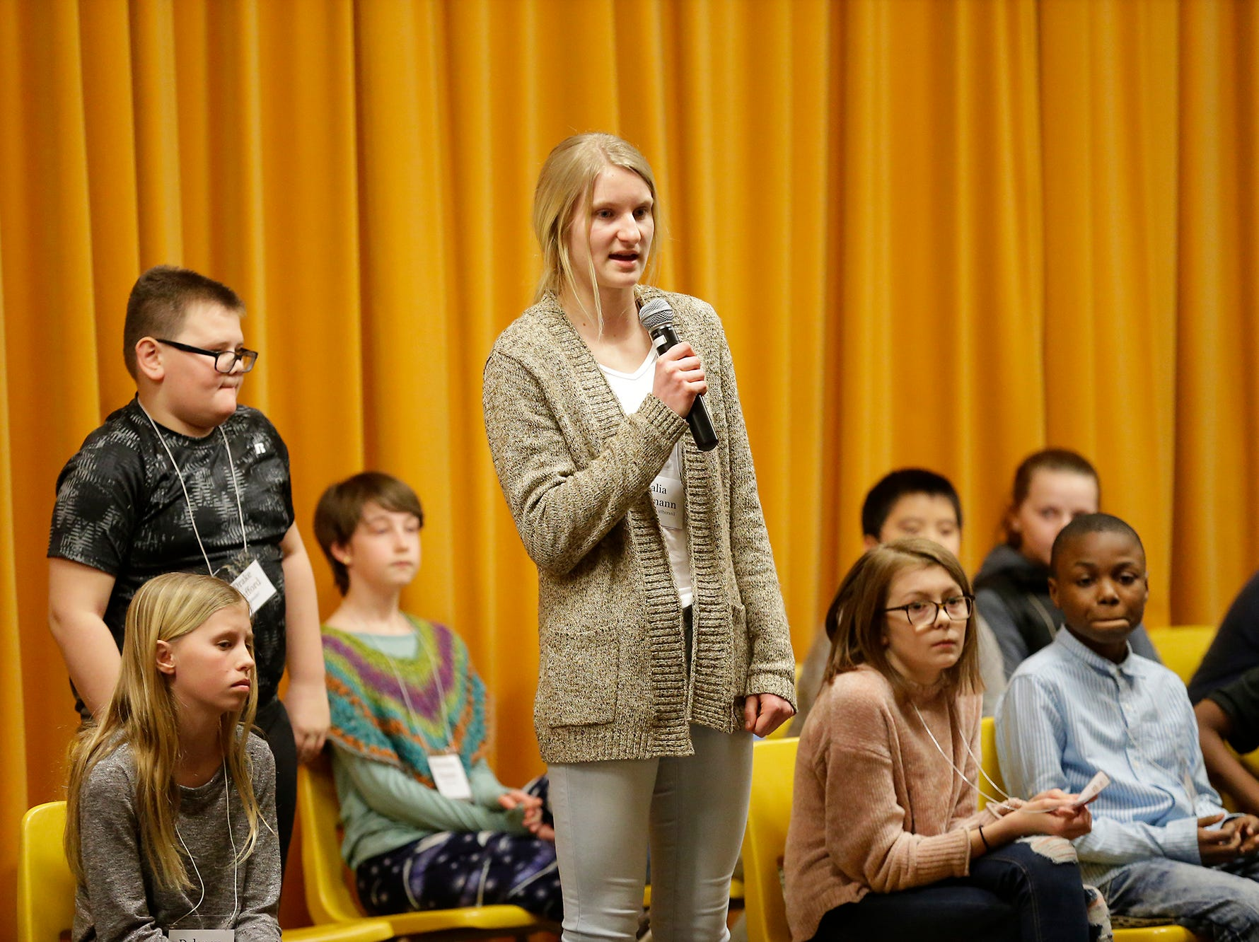 Talia Erdmann of Redeemer Lutheran competes in the Fond du Lac citywide spelling bee Tuesday, February 26, 2019 at These Middle School in Fond du Lac, Wis. Doug Raflik/USA TODAY NETWORK-Wisconsin
