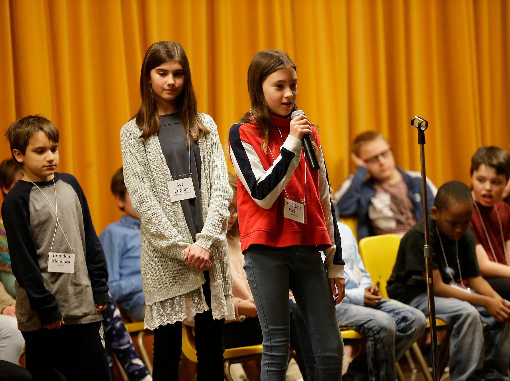 Madeline Weiss of STEM Institute competes in the Fond du Lac citywide spelling bee Tuesday, February 26, 2019 at These Middle School in Fond du Lac, Wis. Doug Raflik/USA TODAY NETWORK-Wisconsin