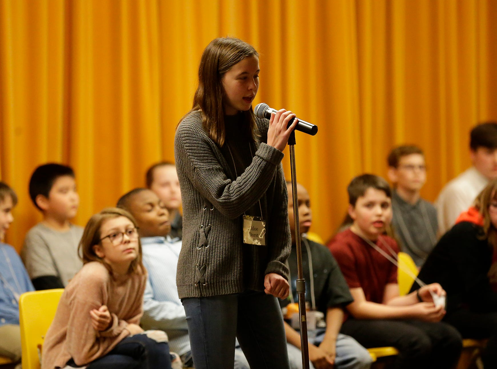 Cgloe Dorst of St. Peters school competes in the Fond du Lac citywide spelling bee Tuesday, February 26, 2019 at These Middle School in Fond du Lac, Wis. Doug Raflik/USA TODAY NETWORK-Wisconsin