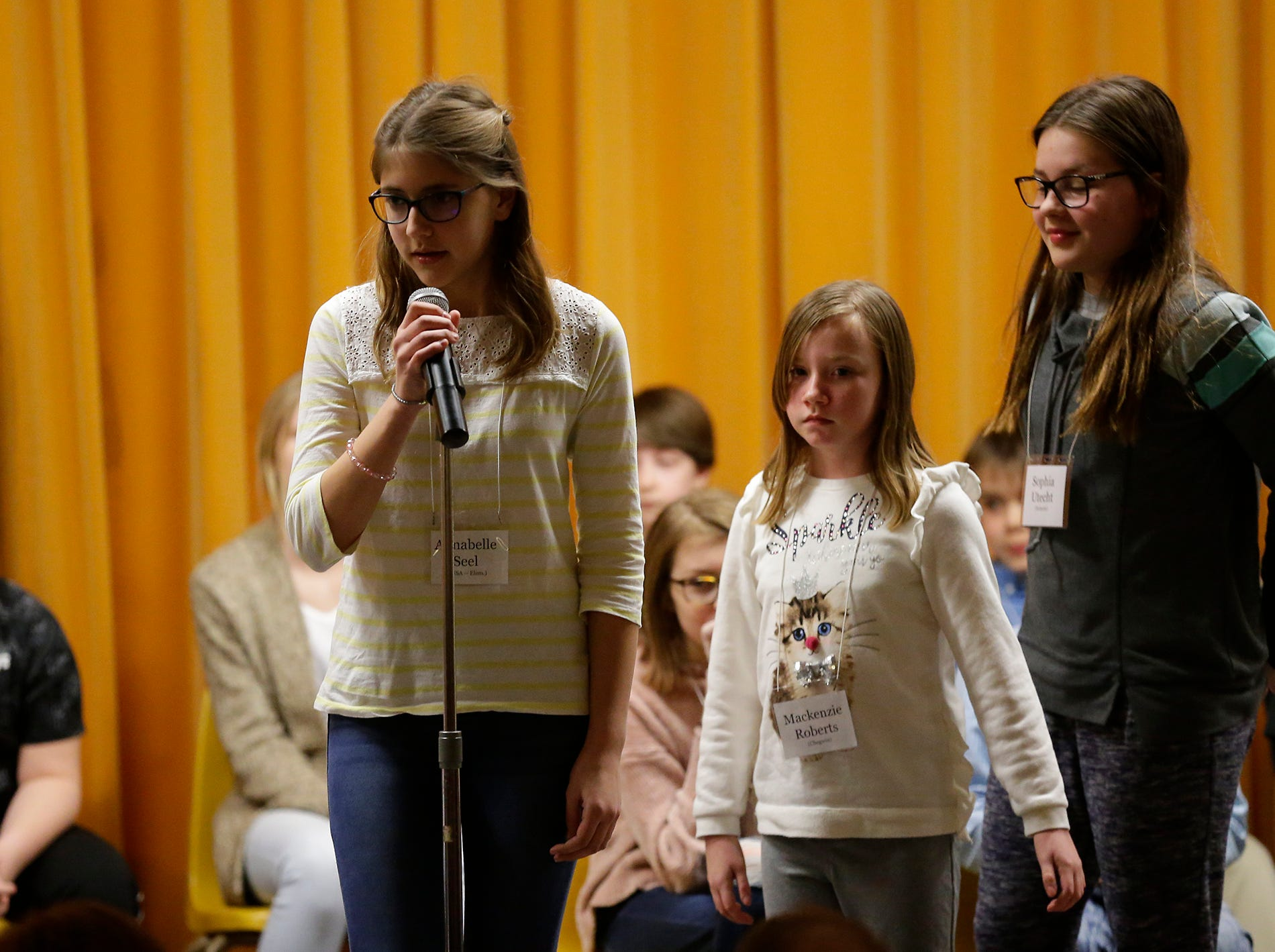 Annabelle Seel of St. Mary's Springs Elementary competes in the Fond du Lac citywide spelling bee Tuesday, February 26, 2019 at These Middle School in Fond du Lac, Wis. Doug Raflik/USA TODAY NETWORK-Wisconsin