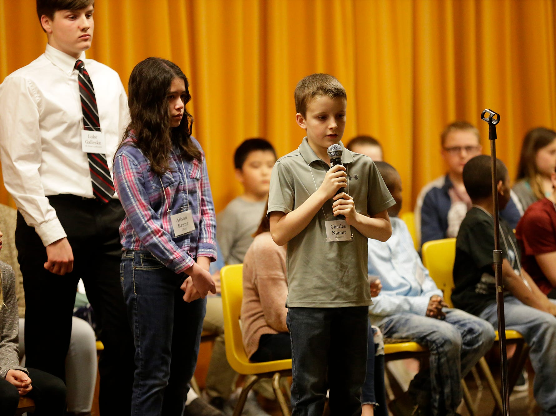 Charles Namur of Rosenow competes in the Fond du Lac citywide spelling bee Tuesday, February 26, 2019 at These Middle School in Fond du Lac, Wis. Doug Raflik/USA TODAY NETWORK-Wisconsin