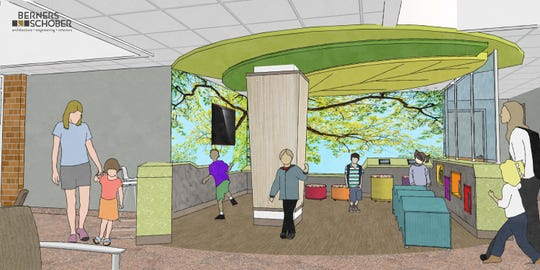 An artist's rendering of the upgraded play area at HSHS St. Vincent Children's Hospital.