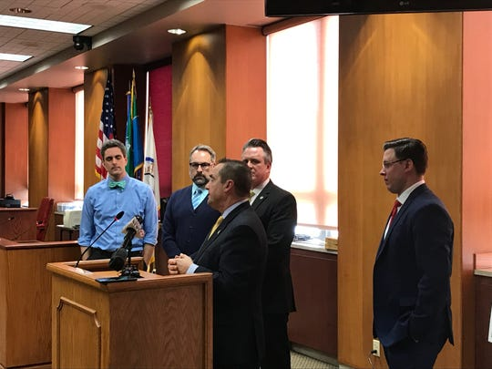 From left, Green Bay Economic Development Director Kevin Vonck, Alderman Brian Johnson, Mayor Jim Schmitt, state Reps. David Steffen and Staush Gruszynski discuss efforts to relocate the coal piles from downtown Green Bay.