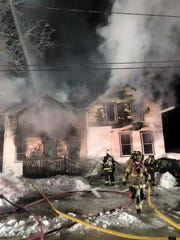 Firefighters from Oconto, Oconto Falls, Little River and Pensaukee braved single-digit temperatures Tuesday night (Feb. 26, 2019) to extinguish the fire at 1018 Gale St., Oconto.