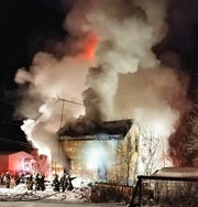 Oconto firefighters work to extinguish a blaze at 1018 Gale St., Oconto on Tuesday (Feb. 26, 2019) night.