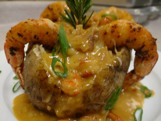 Seafood Stuffed Baked Potato