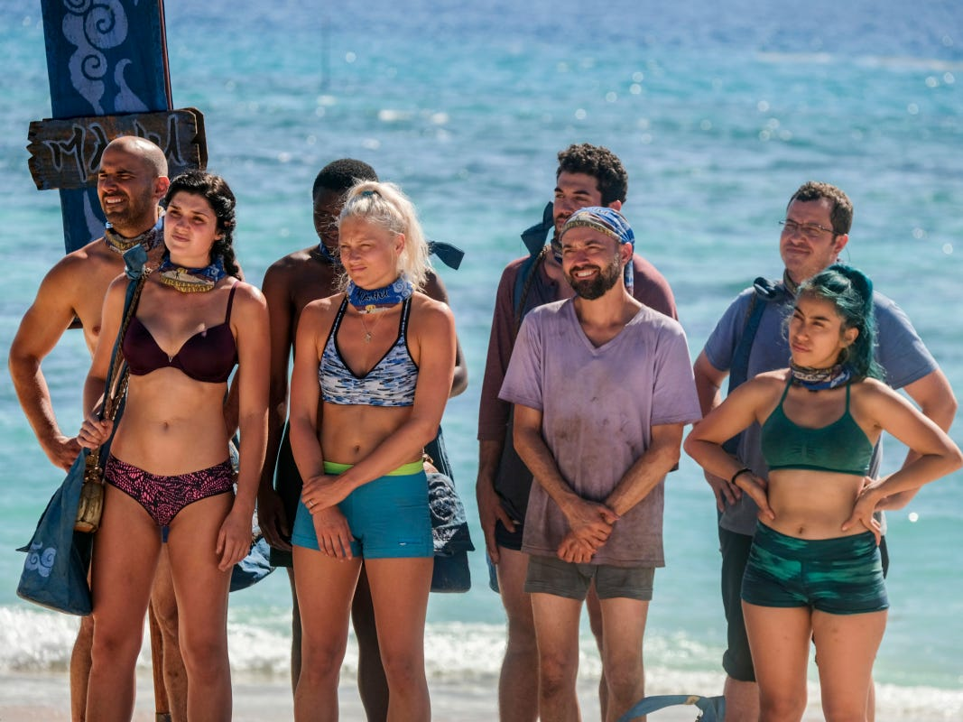 """The Manu Tribe, featuring Greenville resident Chris Underwood, on """"Survivor:  Edge of Extinction,"""" Episode 2."""
