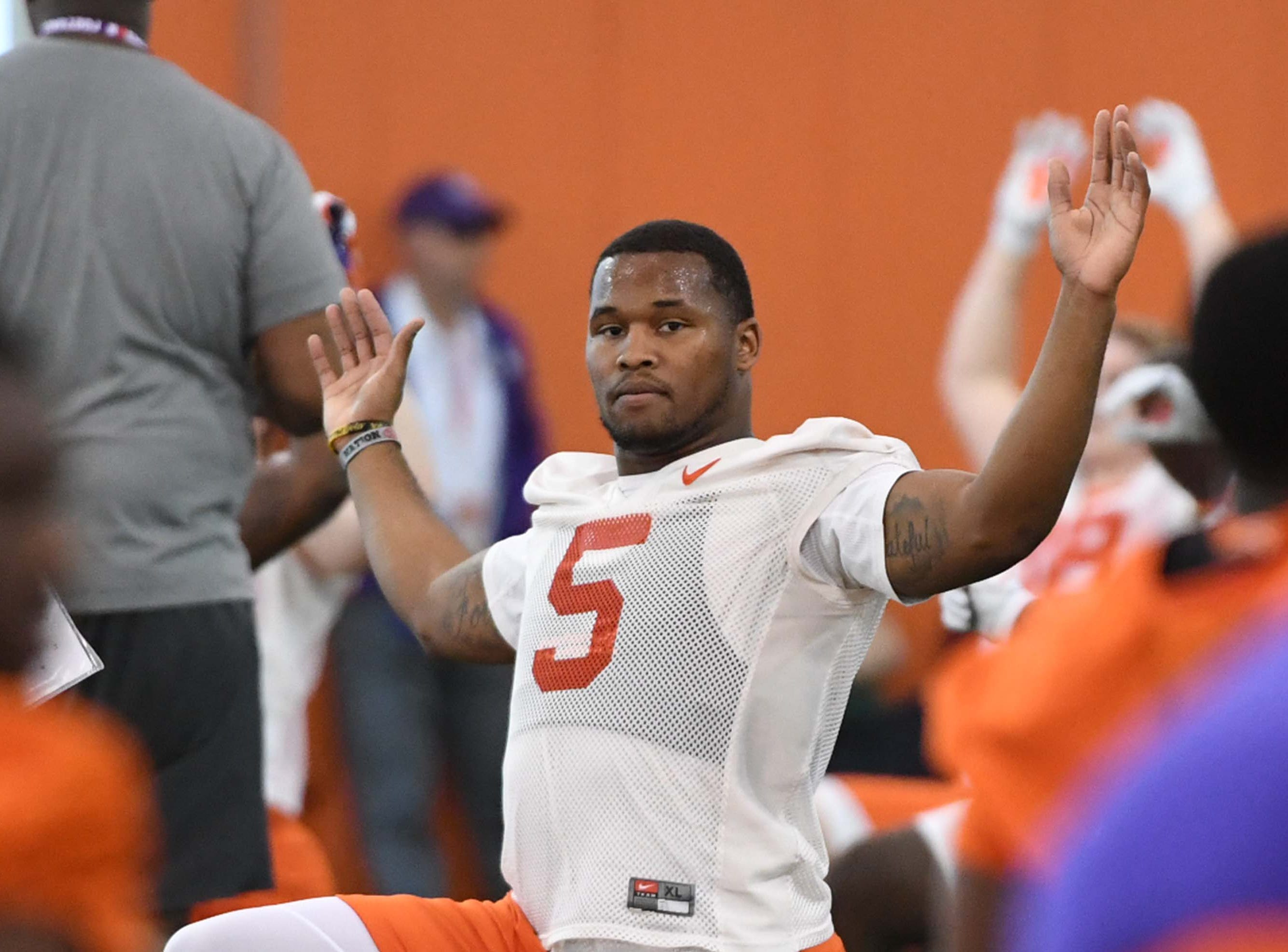 Clemson linebacker Shaq Smith (5) stretches during the first practice at the Clemson Indoor Practice Facility in Clemson Wednesday, February 27, 2019.