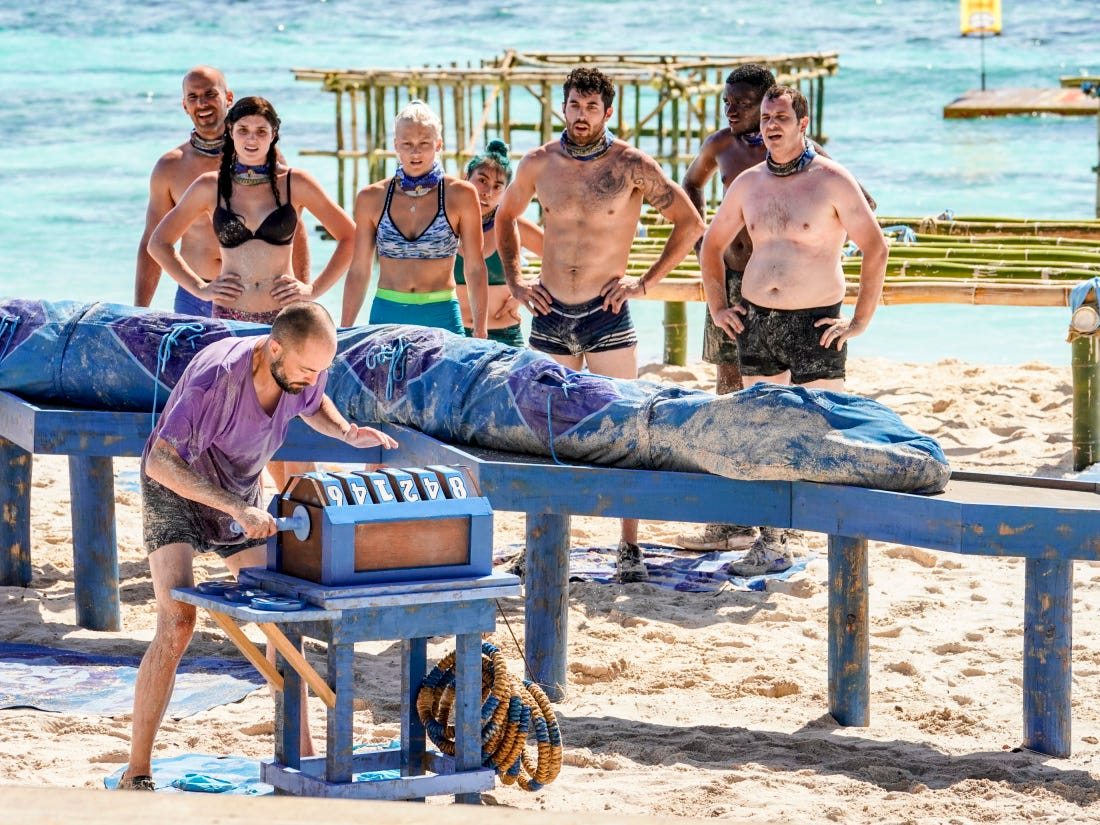 """Greenville's Chris Underwood. third from right, with his Manu Tribe teammates on Episode 2 of """"Survivor: Edge of Extinction."""""""