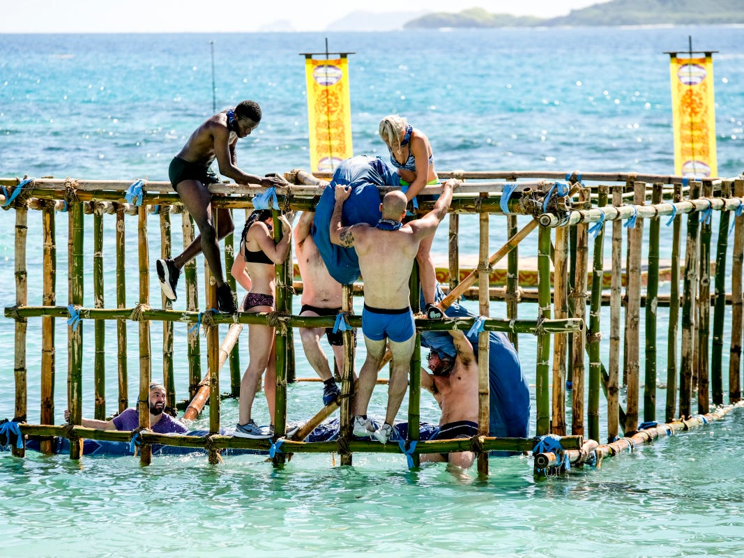 """The Manu Tribe, which features Greenville resident Chris Underwood, competes on Episode 2 of """"Survivor: Edge of Extinction."""""""