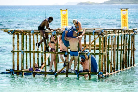 """The Manu Tribe competes on Episode 2 of """"Survivor: Edge of Extinction."""""""