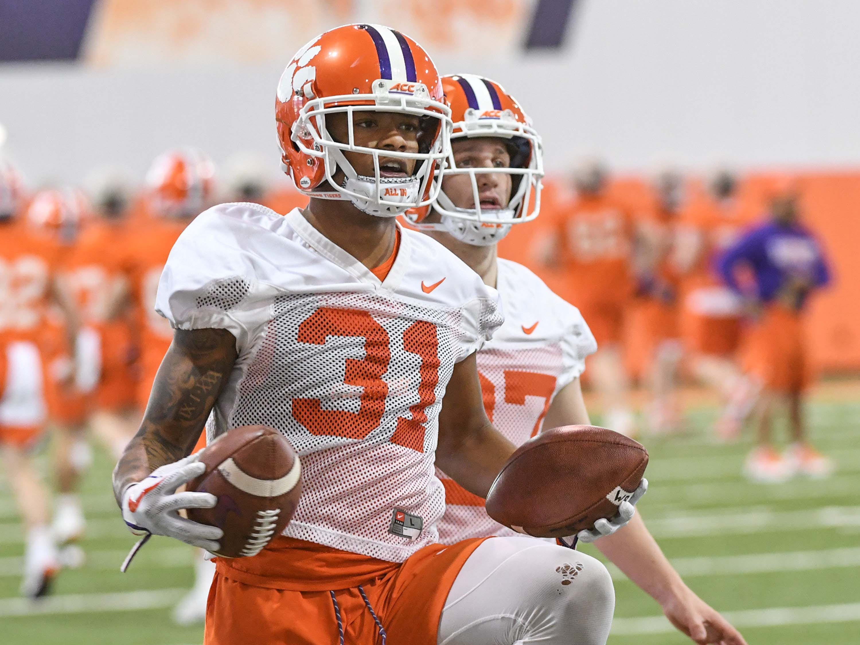 Clemson cornerback Mario Goodrich (31) during the first practice at the Clemson Indoor Practice Facility in Clemson Wednesday, February 27, 2019.