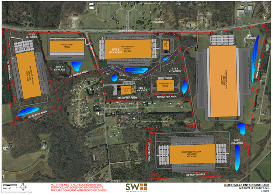 This sketch shows the layout developer John Montgomery has in mind for 250 acres, part of the planned South Greenville Enterprise Park, on U.S. 25 just south of Interstate 185.