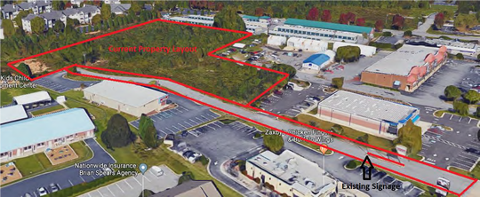 This map shows the site where a Hilton brand hotel is proposed to be built off Fairview Road in Simpsonville.