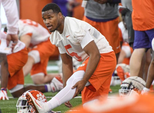 Clemson linebacker Shaq Smith (5) during the first practice at the Clemson Indoor Practice Facility in Clemson Wednesday, February 27, 2019.