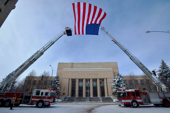 The 100 block of Central Avenue was closed down on Tuesday for the memorial service of Great Falls firefighter Jason Baker at the Mansfield Theater.  Baker passed away February 20th after a two-year battle with lung cancer.