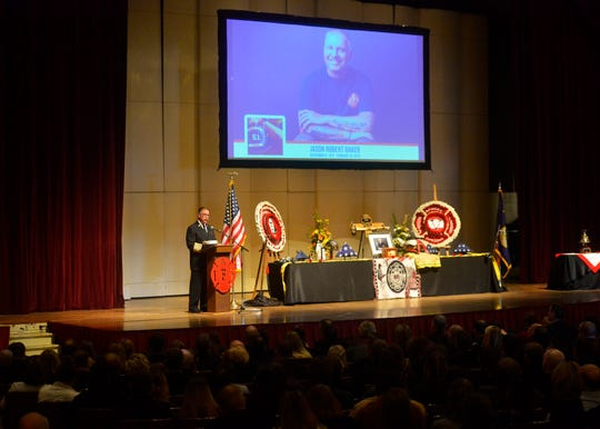 A memorial service for Great Falls firefighter Jason Baker was held on Tuesday afternoon at the Mansfield Theater.  Baker passed away February 20th after a two-year battle with lung cancer.