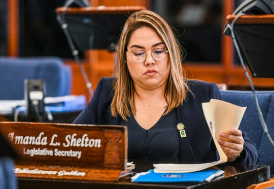 Sen. Amanda Shelton during session at the Guam Legislature on Tuesday, Feb. 26, 2019.